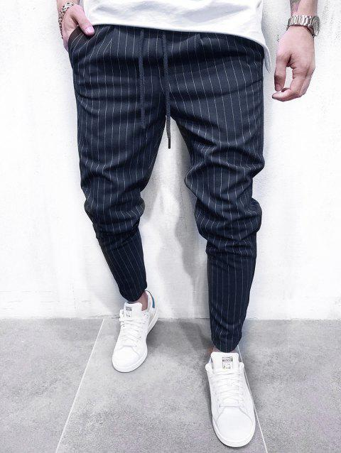 Thin Stripe Tapered Casual Pants - DEEP BLUE XS