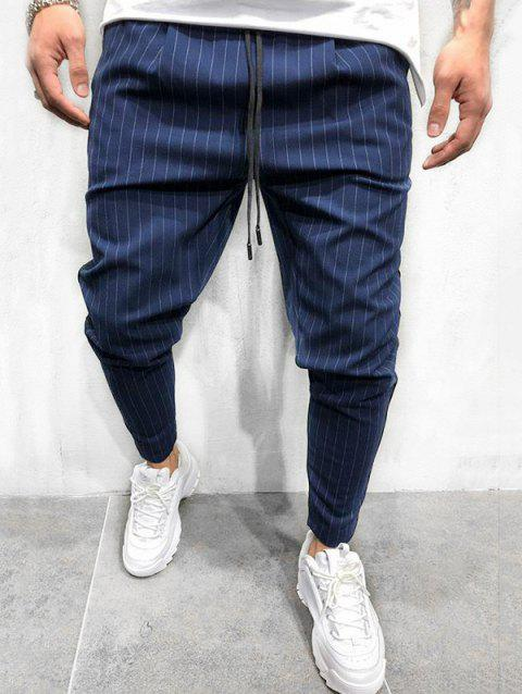 Thin Stripe Tapered Casual Pants - OCEAN BLUE S