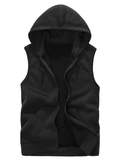 Solid Color Casual Hooded Vest - BLACK M