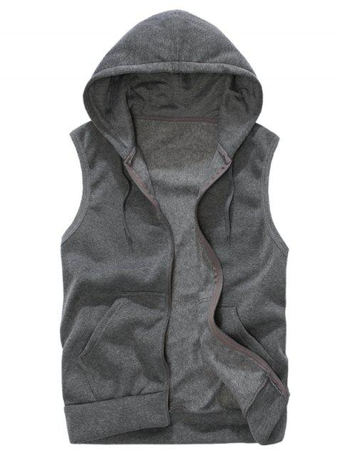 Solid Color Casual Hooded Vest - DARK GRAY M