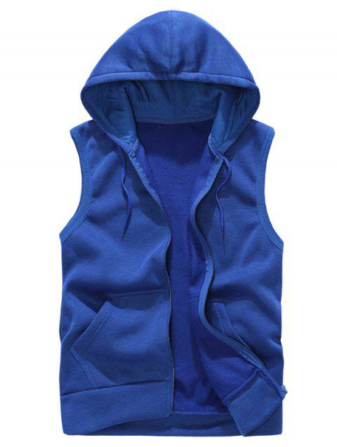 Solid Color Casual Hooded Vest - BLUE L