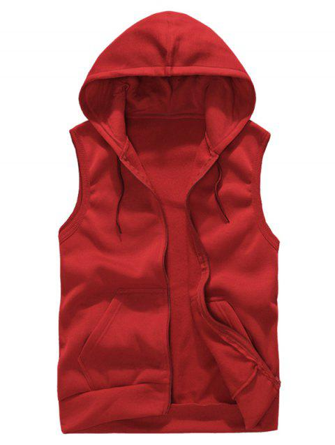 Solid Color Casual Hooded Vest - RED L