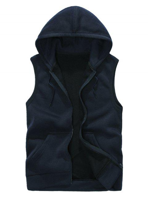 Solid Color Casual Hooded Vest - CADETBLUE 2XL