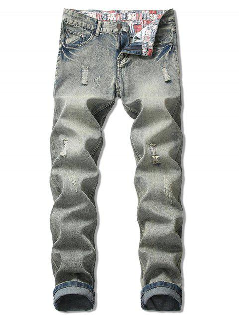 Ripped Light Wash Zip Fly Jeans - GRAY 38