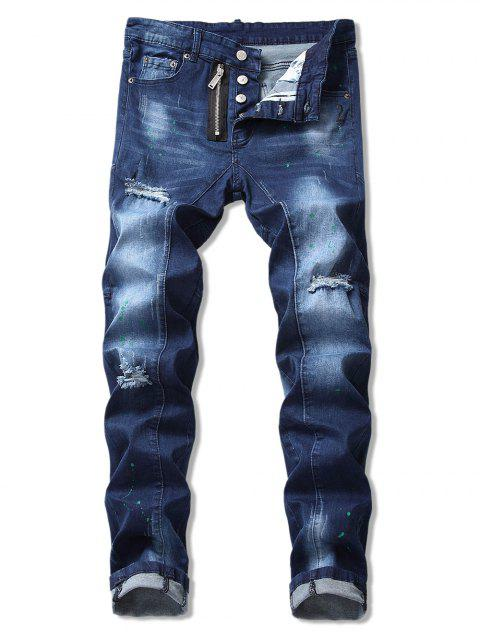 Ripped Paint Splatter Denim Pants - BLUE 34