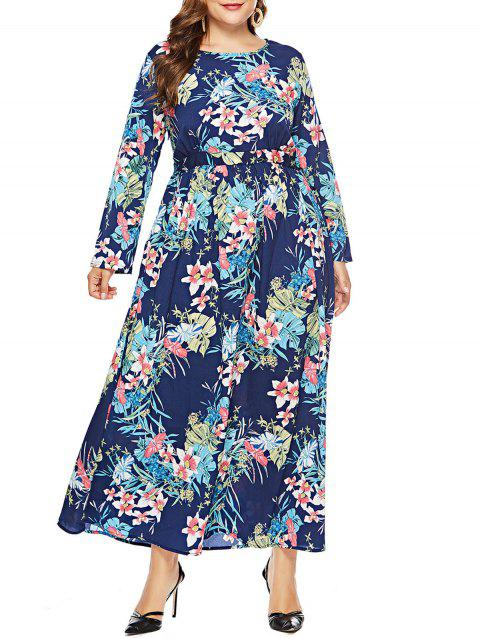 Plus Size Floor Length Print Dress - BLUE 3X