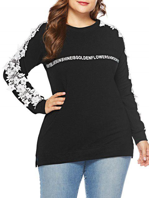 Plus Size Letter Pattern Lace Applique Sweatshirt - BLACK 2X