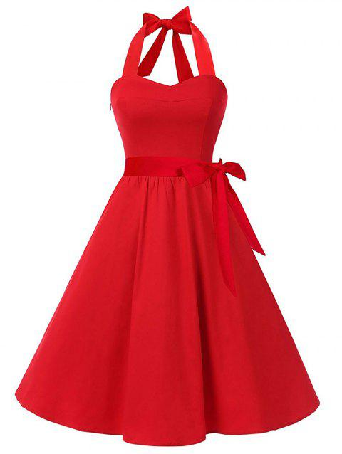 Plus Size Back Lace Up Vintage Dress - RED 1X