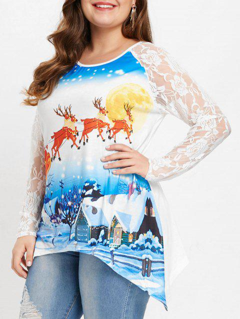 Plus Size Elk Pattern Christmas T-shirt - WHITE 1X