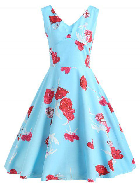 Sleeveless V Neck Fit and Flare Dress - DAY SKY BLUE XL