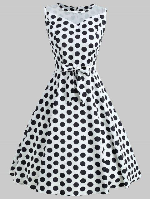 Sleeveless Polka Dot Fit and Flare Dress - WHITE M