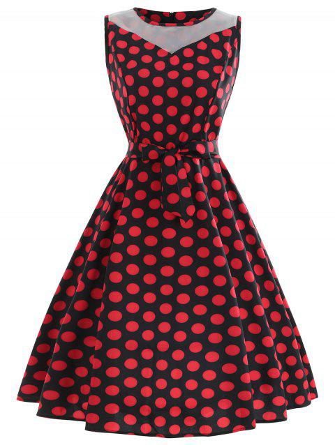 Sleeveless Polka Dot Fit and Flare Dress - RED L