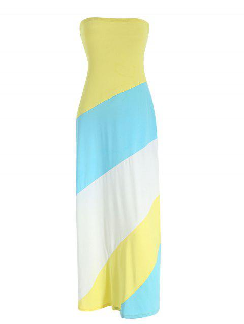 Color Block Maxi Bandeau Dress - multicolor L