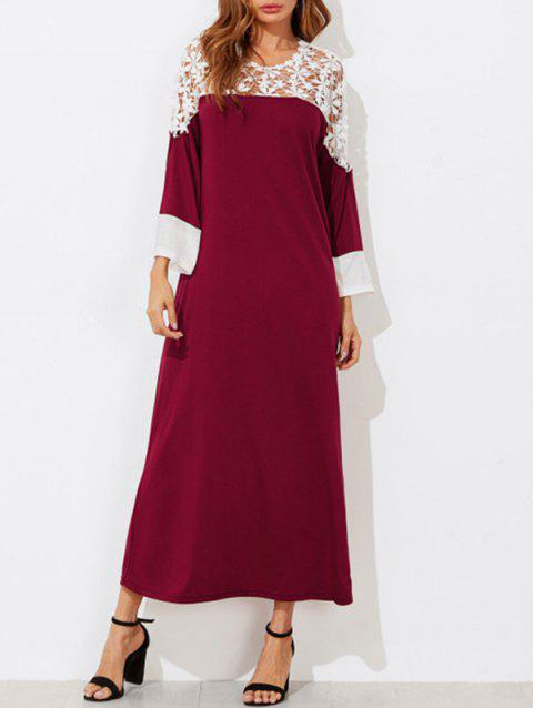 Contrast Lace Long T-shirt Dress - RED WINE M