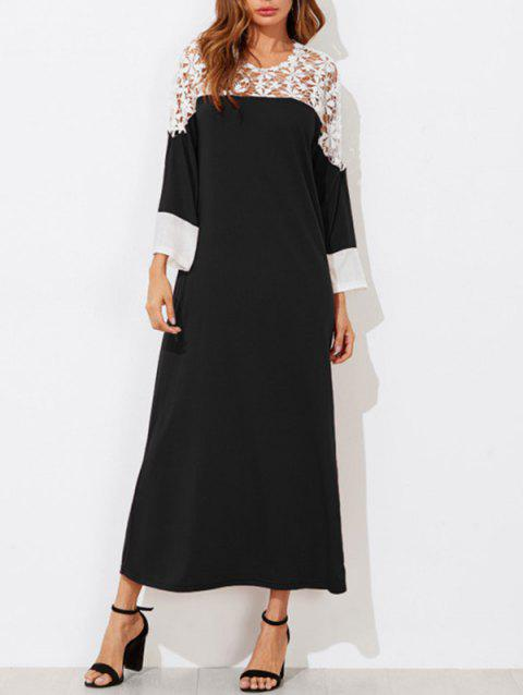 Contrast Lace Long T-shirt Dress - BLACK L