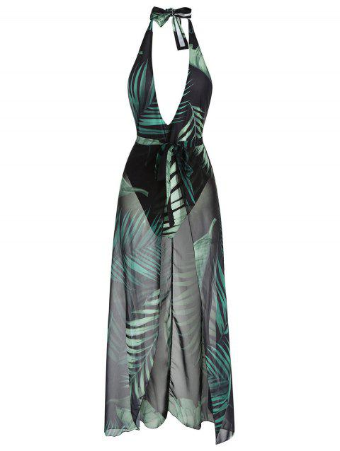 Halter Palm One Piece Swimwear and Sarong - multicolor XL