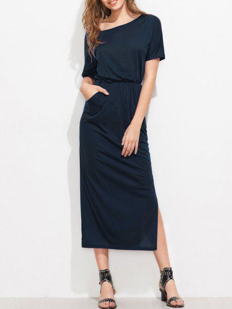 Skew Collar Side Slit Midi Dress - MIDNIGHT BLUE M