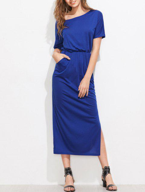 Skew Collar Side Slit Midi Dress - BLUEBERRY BLUE M