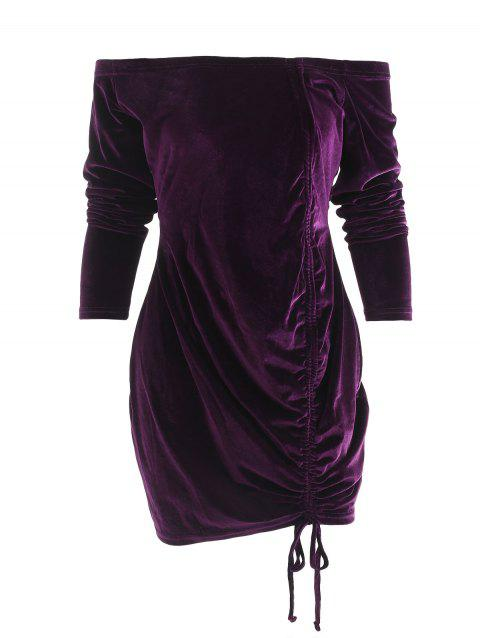 Off Shoulder Drawstring Mini Dress - DARK ORCHID M