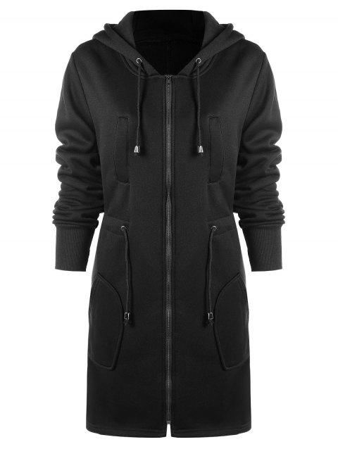 Pockets Hooded Drawstring Long Coat - BLACK XL