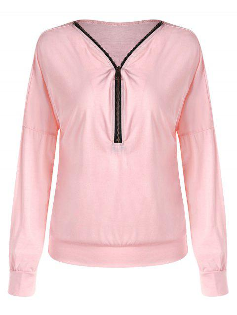Half Zipper Drop Shoulder T-shirt - LIGHT PINK L