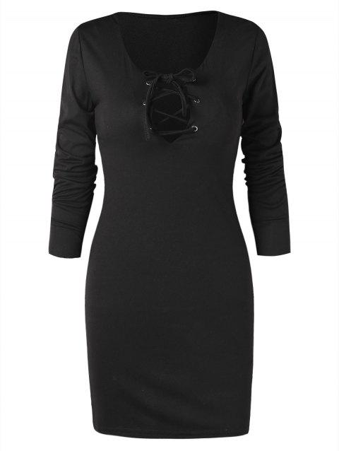 Plunging Lace Up Bodycon Dress - BLACK XL