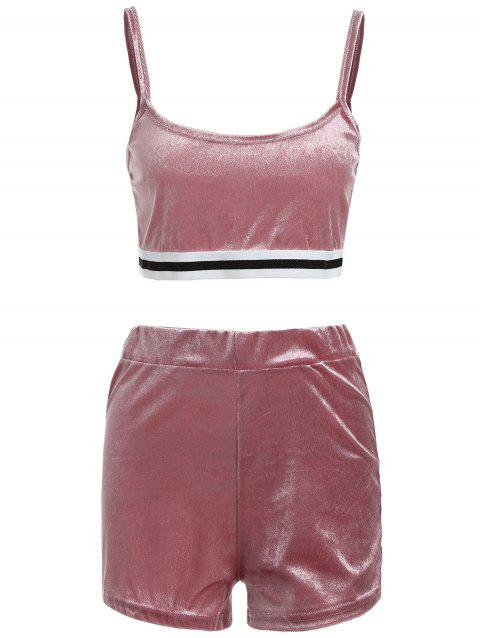 Sweat Suit Crop Top with Dolphin Shorts - LIGHT PINK 2XL