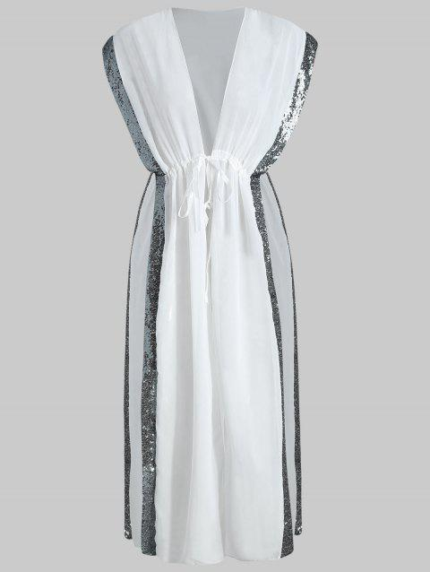 Panneau Sequin Slit Cover Up - Blanc L