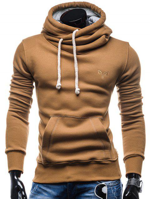 Whole Colored Drawstring Casual Hoodie - CAMEL BROWN M