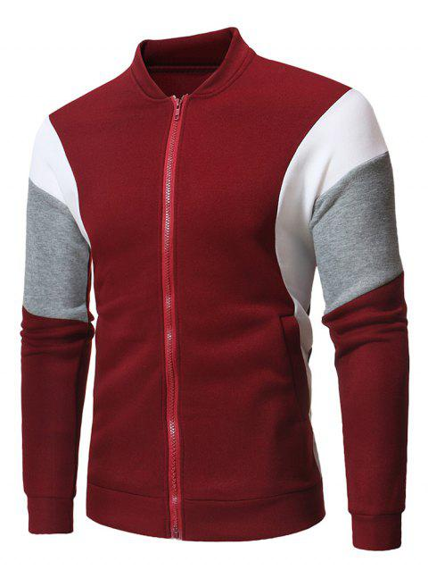 Casual Patchwork Zip Up Jacket - RED WINE S
