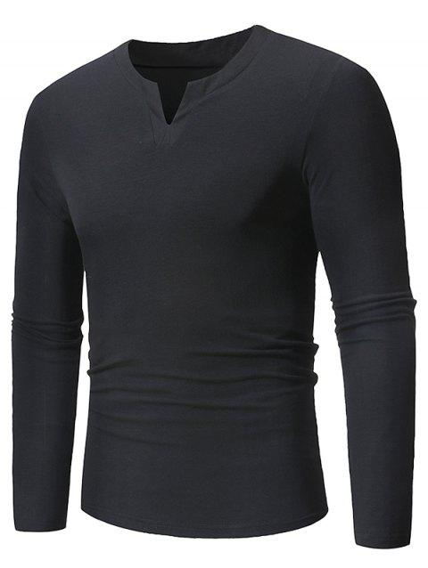 Notched Neckline Long Sleeves Tee - NIGHT L