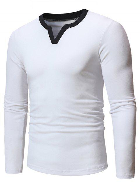 Notched Neckline Long Sleeves Tee - WHITE M