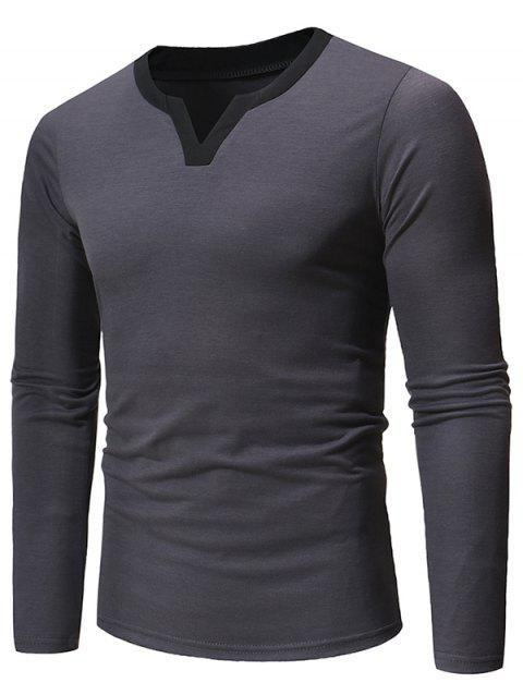 Notched Neckline Long Sleeves Tee - GRAY L