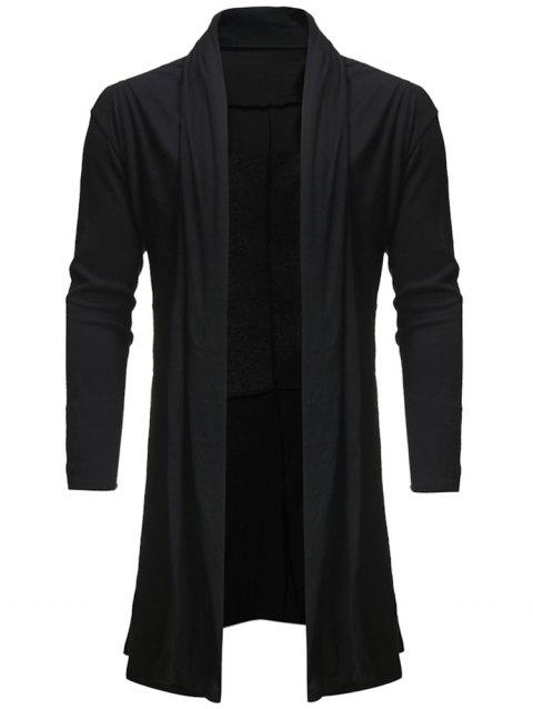 Solid Color Open Front Cardigan - BLACK L