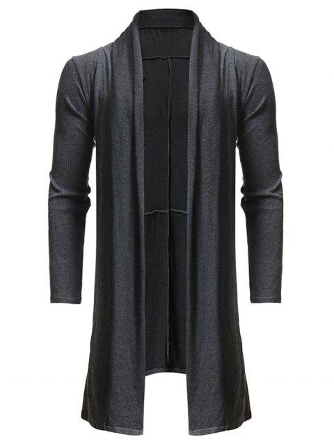 Solid Color Open Front Cardigan - CARBON GRAY L