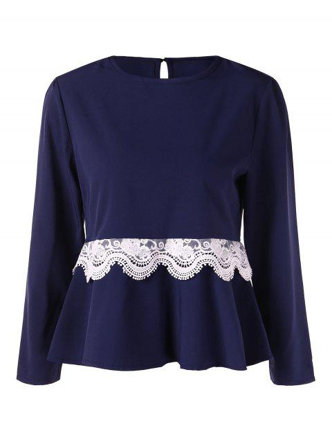 Crochet Panel Skirted Blouse - DEEP BLUE M