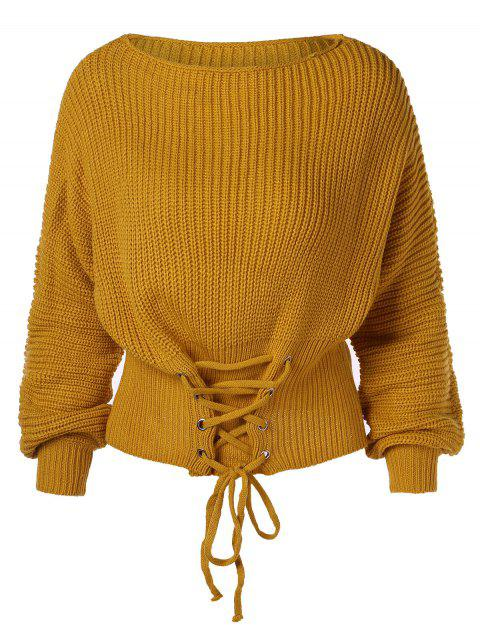 Lace Up Corset Waist Sweater - BEE YELLOW L