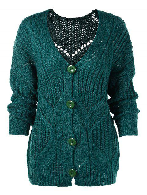 Button Up Cable Knit Plain Cardigan - DEEP GREEN ONE SIZE