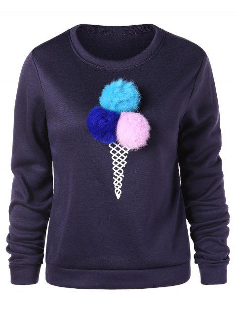 Pom Pom Graphic Sweatshirt - BLACK M