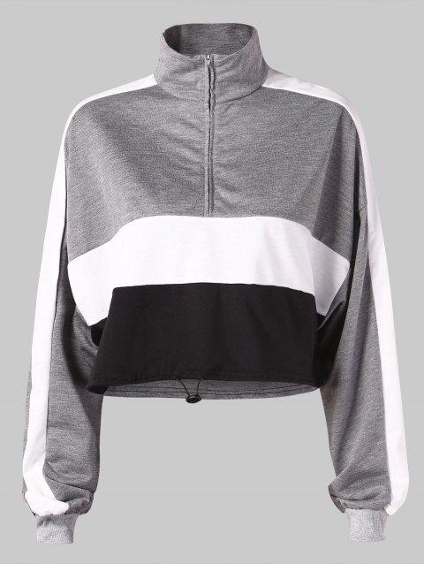 Half Zip Stand Collar Drawstring Sweatshirt - BATTLESHIP GRAY L