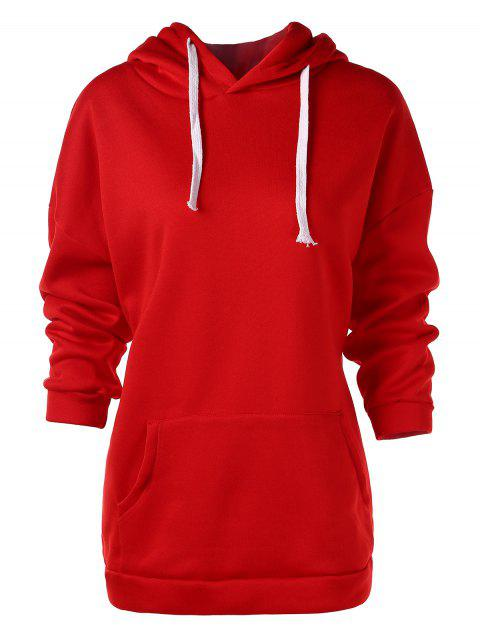 Solid Color Front Pocket Longline Hoodie - LAVA RED M
