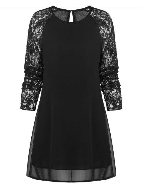 Lace Insert Overlay Mini Dress - BLACK M