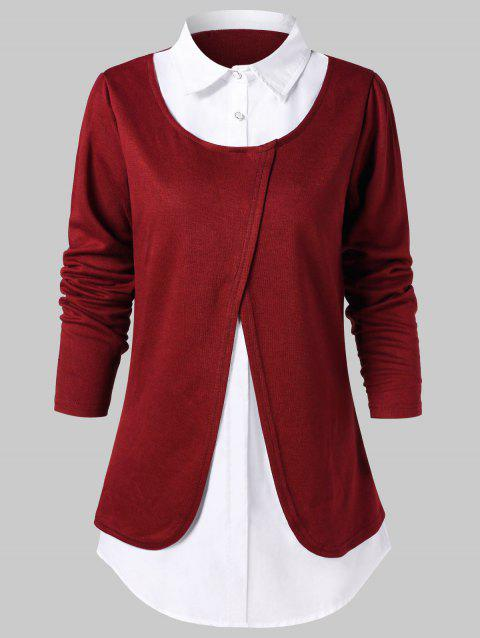 Two Tone Faux Twinset Blouse - RED WINE L