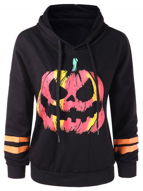 Drawstring Pumpkin Printed Halloween Hoodie - BLACK S