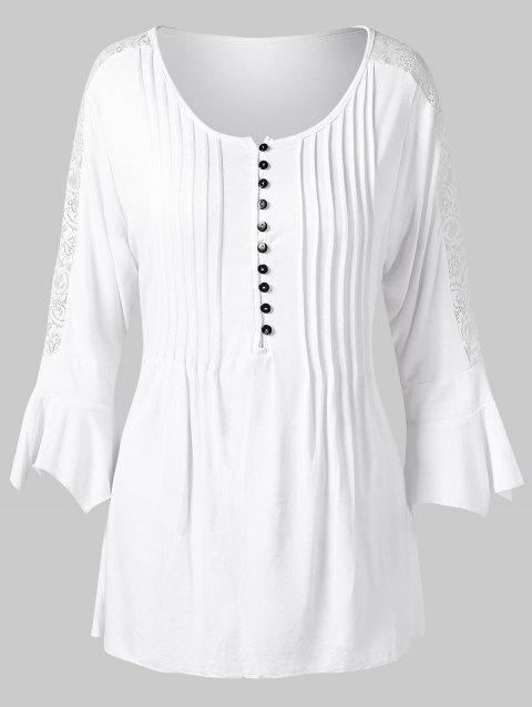 Lace Panel Flare Sleeve Tunic Blouse - WHITE L