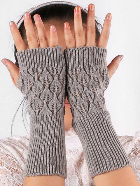 Vintage Hollow Out Knit Gloves - GRAY CLOUD