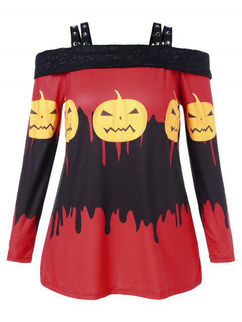 Plus Size Pumpkin Lamp Cold Shoulder T-shirt - multicolor 3X