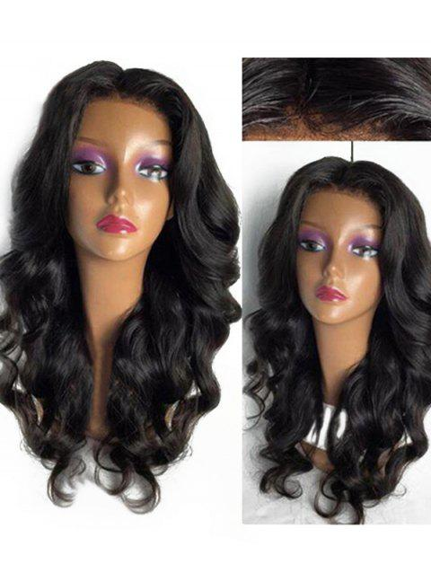 Long Center Parting Loose Body Wave Lace Front Synthetic Wig - BLACK 24INCH