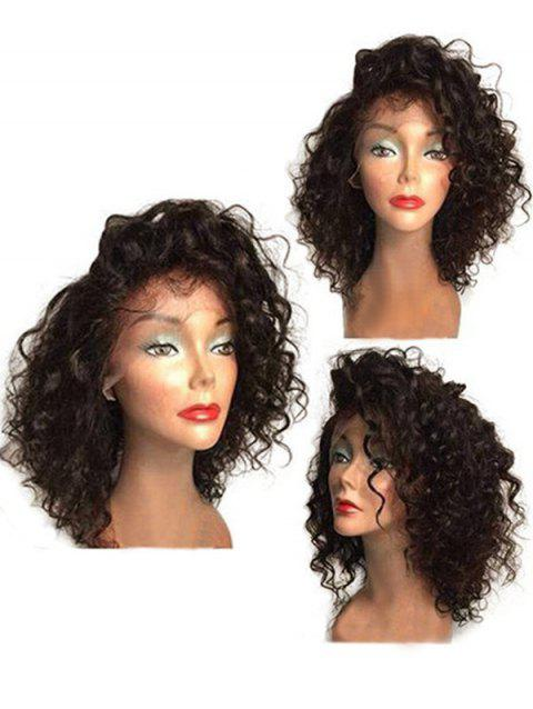 Medium Side Bang Curly Synthetic Lace Front Wig - BROWN 16INCH