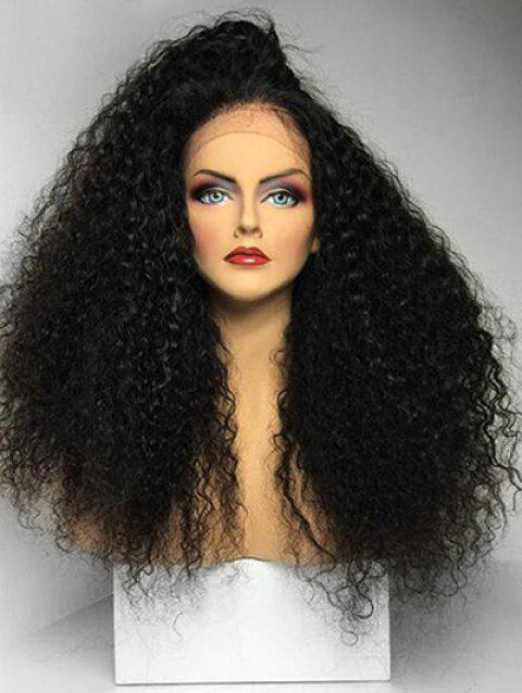Free Part Fluffy Long Curly Synthetic Lace Front Wig - BLACK 24INCH